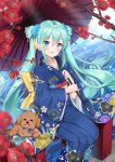 1girl :d alternate_costume animal aqua_eyes aqua_hair blue_kimono blue_nails blush bridge dog floral_print flower hair_flower hair_ornament hatsune_miku highres holding holding_umbrella japanese_clothes kimono long_hair long_sleeves looking_at_viewer mamemena nail_polish obi on_railing open_mouth oriental_umbrella outdoors pinky_out poodle river sash shiny shiny_hair sitting smile solo sparkle tongue tongue_out tree_branch twintails umbrella very_long_hair vocaloid water wide_sleeves yukata