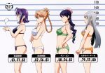 4girls absurdres amado_yuuka blue_hair blush bra breasts brown_hair bust_chart closed_eyes from_side glasses grey_hair height_chart highres lineup lingerie maken-ki! medium_breasts minerva_martha multiple_girls official_art panties profile purple_hair scan sideboob small_breasts stats takaki_furan takeda_hiromitsu underwear underwear_only yan_min