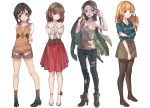 4girls adcd ankle_flower ankle_socks argyle_sweater_vest bangs bare_shoulders black_legwear blonde_hair blue_eyes boots bow brown_hair brown_legwear collarbone corset denim dress eyebrows_visible_through_hair full_body grabbing_own_arm green_eyes green_shirt hair_bow hand_in_hair hands_on_own_chest high_heel_boots high_heels jacket jacket_removed jeans loafers long_hair long_sleeves looking_at_viewer looking_away multiple_girls open_mouth original pants parted_bangs pink_eyes red_bow shirt shoes short_hair short_shorts shorts simple_background skirt slippers standing sweater tank_top torn_clothes torn_jeans white_background white_shirt
