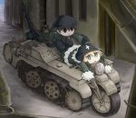 2girls alternate_costume black_gloves blonde_hair blue_eyes boots brown_eyes brown_hair chibi erica_hartmann fur-trimmed_jacket fur_trim gertrud_barkhorn gloves gun helmet hidarikata jacket jitome kettenkrad leaning_forward long_sleeves lying military military_vehicle multicolored_hair multiple_girls open_mouth pointing shoujo_shuumatsu_ryokou shovel sleeves_past_wrists strike_witches two-tone_hair weapon weapon_request worktool world_witches_series
