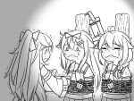 3girls ahoge bound chained chains closed_eyes commentary crying eating flying_sweatdrops food greyscale guin_guin hair_flaps hair_ornament hairclip kantai_collection lock long_hair monochrome multiple_girls neckerchief remodel_(kantai_collection) sailor_collar school_uniform serafuku shigure_(kantai_collection) tied_up yamakaze_(kantai_collection) yuudachi_(kantai_collection)