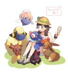 1girl :d bare_arms bare_shoulders black_eyes black_hair blue_eyes blush braid brown_eyes brown_hat buneary comb eevee floating full_body green_ribbon hat hat_ribbon highres holding inkay knees_up long_hair mareep mizuki_(pokemon_ultra_sm) no_socks on_grass open_mouth orange_shirt petting pokemon pokemon_(creature) pokemon_(game) pokemon_ultra_sm popplio ribbon shirt shoes shorts simple_background sitting sleeveless sleeveless_shirt smile sun_hat translation_request twin_braids unapoppo white_background white_shorts wristband zorua