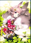 1girl :d absurdres animal animal_ears animal_hug bangs black_legwear brown_hair carrot_hair_ornament closed_eyes clover clover_(flower) eyebrows_visible_through_hair fingernails floral_print flower food_themed_hair_ornament hair_ornament hairclip highres hug huge_filesize japanese_clothes kimono long_sleeves looking_at_viewer nardack obi open_mouth original oversized_animal print_kimono rabbit rabbit_ears red_kimono sash scan short_kimono smile solo thigh-highs upper_teeth violet_eyes wavy_hair