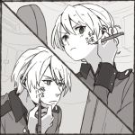 1boy 1girl commentary darjeeling genderswap genderswap_(ftm) girls_und_panzer greyscale jacket kimi_no_na_wa military military_uniform mirror monochrome parody ree_(re-19) st._gloriana's_military_uniform tied_hair uniform