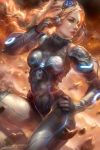 1girl blonde_hair bodysuit boobplate breastplate breasts enshanlee eyewear_on_head green_eyes hand_on_hip highres long_hair medium_breasts nova_(starcraft) starcraft tagme