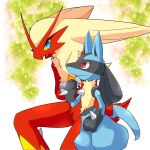 1boy 1girl animal_ears beak bird_girl bird_tail black_fur blaziken blonde_hair blue_eyes blue_fur body_fur claws closed_mouth colored_sclera commentary_request crossed_arms eye_contact eyelashes from_side frown furrowed_brow furry gen_3_pokemon gen_4_pokemon hand_up leaf long_hair looking_at_another looking_down looking_up lucario nervous open_mouth paws plant pokemon pokemon_(creature) profile red_eyes red_fur sideways_mouth snout spikes standing sweat tail wavy_mouth white_background wolf_boy wolf_ears wolf_tail yellow_fur yellow_sclera zakro