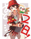 1boy 1girl :d ;d backpack bag bangs bare_arms bare_shoulders bird black_eyes black_hair blue_shirt bright_pupils cat creature_on_shoulder fangs hat highres holding legs_apart litten looking_at_viewer male_focus on_shoulder one_eye_closed open_mouth outstretched_arm owl pants pokemon pokemon_(creature) pokemon_(game) pokemon_ultra_sm red_eyes red_hat red_ribbon ribbon rowlet shirt sleeveless sleeveless_shirt smile solo standing unapoppo v white_pants wristband yellow_sclera you_(pokemon_ultra_sm)
