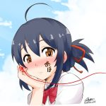 1girl ahoge artist_name black_hair blue_sky blush bow brown_eyes clouds commentary_request elbow_rest facepaint hair_between_eyes hair_bow kimi_no_na_wa looking_at_viewer low_ponytail miyamizu_mitsuha red_string shirt sidelocks sky solo string translation_request twitter_username upper_body yamato_nadeshiko
