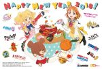 2018 2girls ahoge aikatsu! aikatsu_stars! apron bandai_namco blonde_hair bowl braid chopsticks classicaloid code_geass commentary_request company_connection company_name copyright_name english gintama gundam gundam_build_fighters happy_new_year haro jackie_(kuma_no_gakkou) kuma_no_gakkou:_patissier_jackie_to_ohisama_no_sweet long_sleeves love_live! love_live!_sunshine!! mobile_suit_gundam_the_origin multicolored_hair multiple_girls muteki_koujin_daitarn_3 new_year nijino_yume obentou official_art orange_eyes orange_hair plate red_eyes ribbon robot short_hair side_braid stuffed_animal stuffed_toy sunrise_(company) table takami_chika teddy_bear twintails uranohoshi_school_uniform yellow_ribbon
