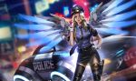 1girl alternate_costume black_gloves blonde_hair blurry car cuffs depth_of_field gloves ground_vehicle gun hair_over_one_eye handcuffs handgun highres holster liang_xing mechanical_wings mercy_(overwatch) motor_vehicle necktie overwatch parted_lips police police_car police_uniform policewoman rain solo thigh-highs thigh_holster uniform weapon white_gloves wings