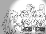 3girls ahoge bound chained chains closed_eyes commentary eating flying_sweatdrops food greyscale guin_guin hair_flaps hair_ornament hairclip kantai_collection lock long_hair monochrome multiple_girls neckerchief remodel_(kantai_collection) sailor_collar school_uniform serafuku shigure_(kantai_collection) tied_up yamakaze_(kantai_collection) yuudachi_(kantai_collection)