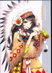 1girl absurdres arm_up bangs black_hair bodypaint bracelet facepaint facial_mark feathers flower fringe green_eyes headdress highres holding holding_pipe huge_filesize jewelry kiseru long_hair looking_at_viewer nardack native_american native_american_headdress original parted_lips pipe ring scan skirt solo upper_teeth warbonnet white_feathers