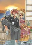 1boy 1girl blonde_hair fairy_tail flower hand_tattoo haori happy_(fairy_tail) japanese_clothes kimono looking_at_viewer lucy_heartfilia mashima_hiro natsu_dragneel pink_hair sandals sitting smile socks spiky_hair sun sunset