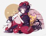 1girl bangs black_eyes black_flower black_kimono blunt_bangs bow brush calligraphy_brush creature drawing eyebrows_visible_through_hair fate/grand_order fate_(series) flower full_body fur_collar hair_flower hair_ornament hairpin hand_on_own_knee holding_brush ink japanese_clothes katsushika_hokusai_(fate/grand_order) kimono knees_up large_bow looking_at_viewer looking_back makaroni_(yudejiru) obi octopus paintbrush red_flower sash short_hair short_sleeves sitting tentacle yellow_bow
