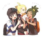 /\/\/\ 3boys :d ^_^ ^o^ ahoge backpack bag baseball_cap black_eyes black_hair black_hat black_shirt blonde_hair blush closed_eyes dark_skin drawstring ear_piercing food gladio_(pokemon) green_eyes green_hair hair_over_one_eye hat hau_(pokemon) holding holding_food hood hood_down hoodie index_finger_raised long_sleeves looking_at_viewer male_focus multiple_boys open_mouth piercing pokemon pokemon_(game) pokemon_sm ponytail round_teeth shirt short_sleeves simple_background smile striped striped_shirt sweatdrop teeth torn_clothes torn_sleeves unapoppo upper_body v-shaped_eyebrows white_background wrapper you_(pokemon_sm)