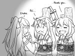 3girls ahoge bound chained chains closed_eyes commentary eating feeding flying_sweatdrops food greyscale guin_guin hair_flaps hair_ornament hairclip kantai_collection lock long_hair monochrome multiple_girls neckerchief remodel_(kantai_collection) sailor_collar school_uniform serafuku sharing_food shigure_(kantai_collection) tied_up yamakaze_(kantai_collection) yuudachi_(kantai_collection)