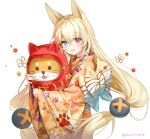 1girl alternate_costume animal_ears bangs blonde_hair blue_eyes blush breasts crossed_bangs eyebrows_visible_through_hair eyes_visible_through_hair floating_hair flower fox_ears g41_(girls_frontline) girls_frontline hair_between_eyes heterochromia holding hug japanese_clothes kimono long_hair looking_at_viewer low_twintails marmoset_(marmoset0) obi open_mouth paw_print_pattern red_eyes sash simple_background small_breasts smile solo twintails twitter_username very_long_hair white_background wide_sleeves