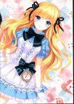 1girl absurdres ace_of_diamonds alice_(wonderland) alice_(wonderland)_(cosplay) alice_in_wonderland artist_name bangs blonde_hair blue_bow blue_dress blue_eyes blush bow bowtie card checkered checkered_background cosplay diamond_(shape) dress dutch_angle eyebrows_visible_through_hair gloves heart highres huge_filesize long_hair looking_at_viewer nardack original page_number parted_lips playing_card pocket_watch puffy_short_sleeves puffy_sleeves scan short_dress short_sleeves solo very_long_hair watch white_gloves wrist_bow
