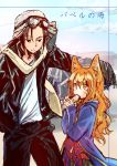 1boy 1girl animal_ears black_hair eating food gloves goggles goggles_on_headwear ground_vehicle helmet jacket leather leather_jacket long_hair mono_(nekogoya) motor_vehicle motorcycle motorcycle_helmet orange_eyes orange_hair original pants ribbon shirt sketch white_shirt wolf_ears