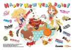 2018 2girls ahoge aikatsu! aikatsu_stars! apron bandai_namco blonde_hair bowl braid chopsticks classicaloid code_geass company_connection company_name copyright_name english gintama gundam gundam_build_fighters happy_new_year haro jackie_(kuma_no_gakkou) kuma_no_gakkou:_patissier_jackie_to_ohisama_no_sweet long_sleeves love_live! love_live!_sunshine!! mobile_suit_gundam_the_origin multicolored_hair multiple_girls muteki_koujin_daitarn_3 new_year nijino_yume obentou official_art orange_eyes orange_hair plate red_eyes ribbon robot short_hair side_braid stuffed_animal stuffed_toy sunrise_(company) table takami_chika teddy_bear twintails uranohoshi_school_uniform yellow_ribbon