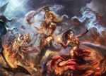 3girls armor axe barbarian_(diablo_3) battle battle_axe bikini_armor black_hair breasts cleavage crusader_(diablo_3) demon diablo_3 epic flail highres large_breasts long_hair mad-jill medium_breasts multiple_girls open_mouth orange_hair shield shouting tagme war_paint weapon white_hair wizard_(diablo_3)