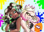 +_+ 2girls alvares bare_arms bare_shoulders blonde_hair breasts brown_hair cephalopod_eyes cleavage crop_top cropped_vest crown dark_skin domino_mask eyelashes fang fingerless_gloves gloves graphite_(medium) green_eyes green_hair green_skin grin hand_up headphones high_collar highres hime_(splatoon) iida_(splatoon) leather leather_gloves leather_vest lips long_hair looking_at_viewer mask mechanical_pencil medium_hair mole mole_under_mouth multicolored multicolored_hair multicolored_skin multiple_girls octarian open_mouth paint_splatter pencil pink_hair pink_pupils pointing pointing_at_viewer shiny shiny_clothes shiny_hair sleeveless smile splatoon splatoon_2 squid suction_cups symbol-shaped_pupils tentacle_hair traditional_media unzipped upper_body vest yellow_eyes yellow_pupils zipper zipper_pull_tab