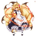 1girl :o alternate_costume animal_ears artist_name black_footwear blonde_hair blush breasts dated elbow_gloves enmaided fire flower fox_ears fox_tail frills full_body gloves hair_flower hair_ornament kayou_(sennen_sensou_aigis) large_breasts long_hair looking_at_viewer maid multiple_tails outstretched_arm pink_eyes playjoe2005 puffy_short_sleeves puffy_sleeves sennen_sensou_aigis shoes short_sleeves simple_background skirt_hold solo tail white_background white_gloves white_legwear