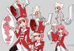 1girl :o bangs closed_mouth contrapposto dress gloves grey_background hair_between_eyes hat helmet highres horned_helmet jakuzure_nonon kill_la_kill leotard long_sleeves looking_at_viewer multiple_views official_art parted_lips peaked_cap pink_eyes pink_hair red_dress red_hat red_leotard salute sidelocks signature simple_background skeleton skull smile standing sushio white_gloves