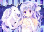 1girl ahoge azur_lane bangs blush commentary_request constellation dress elbow_gloves eyebrows_visible_through_hair gloves hair_bun hair_ribbon halterneck kinokomushi long_hair looking_at_viewer one_side_up parted_lips purple_hair ribbon side_bun solo stuffed_animal stuffed_pegasus stuffed_toy stuffed_unicorn unicorn_(azur_lane) very_long_hair violet_eyes white_dress white_gloves white_ribbon