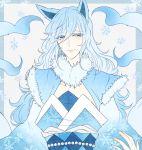 1boy alolan_ninetales animal_ears asame21 blue_eyes blue_hair fur_trim long_hair looking_at_viewer male_focus personification pokemon smile snowflake_print snowflakes upper_body very_long_hair