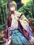 1boy bamboo brown_eyes dutch_angle fan folding_fan gabiran grey_hair hakama japanese_clothes male_focus moon night official_art outdoors seisen_cerberus shrine solo standing watermark wide_sleeves