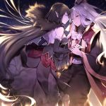 1boy 1girl absurdly_long_hair amakusa_shirou_(fate) bare_shoulders black_dress black_gloves black_hair breasts brown_eyes cape dark_skin detached_sleeves dress elbow_gloves fate/apocrypha fate_(series) fur_trim gloves hair_ribbon hand_holding highres large_breasts long_dress long_hair looking_at_another partly_fingerless_gloves pointy_ears ponytail ribbon semiramis_(fate) sidelocks sky star_(sky) starry_sky stole very_long_hair white_hair wowishi yellow_eyes