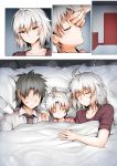 1boy 2girls closed_eyes comic eyebrows_visible_through_hair faceless faceless_male family fate/grand_order fate_(series) father_and_daughter fujimaru_ritsuka_(male) ginhaha husband_and_wife jeanne_d'arc_(alter)_(fate) jeanne_d'arc_(fate)_(all) lipstick_mark mother_and_daughter multiple_boys multiple_girls shared_blanket short_hair silent_comic silver_hair sleeping yellow_eyes