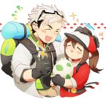 1girl =_= backpack bag baseball_cap beard black_gloves brown_hair chibi egg eyewear_on_head facial_hair female_protagonist_(pokemon_go) glasses gloves grey_hair hat labcoat long_hair omochi_shogun petting pokemon pokemon_go ponytail smile thumbs_up willow_(pokemon)