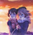 2girls :d black_hair brown_hair checkered_scarf commentary_request duffel_coat green_eyes hair_between_eyes hair_ornament hairclip hand_holding highres kuraue_hinata mad_(hazukiken) multiple_girls new_year open_mouth scarf short_hair smile sunrise twintails violet_eyes yama_no_susume yukimura_aoi