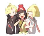 1boy 2girls arm_hug backpack bag beanie black_hair blonde_hair brother_and_sister closed_eyes gladio_(pokemon) hair_over_one_eye hat hood hoodie lillie_(pokemon) long_hair long_sleeves mizuki_(pokemon_sm) multiple_girls open_mouth pokemon pokemon_(game) pokemon_sm ponytail red_hat shirt short_hair short_sleeves siblings simple_background tied_shirt torn_clothes unapoppo white_background white_shirt z-ring