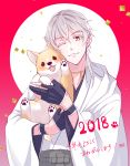 1boy 2018 ;) black_gloves dog gloves highres hood japanese_clothes male_focus one_eye_closed partly_fingerless_gloves pom_pom_(clothes) rei_(usabiba) smile touken_ranbu translation_request tsurumaru_kuninaga white_hair year_of_the_dog yellow_eyes
