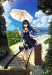 1girl beach black_dress black_hair black_hairband blue_sky butterfly capelet choker clouds cloudy_sky cross-laced_footwear dappled_sunlight day dress flower frills grass hairband high_heels highres key_(company) key_necklace kushima_kamome long_hair na-ga nature official_art outdoors parasol plant rolling_suitcase scenery sheer_clothes skull_and_crossbones sky smile solo standing suitcase summer_pockets sunflower sunlight tree umbrella yellow_eyes