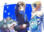 1boy 1girl blue_eyes blush brush closed_eyes facepaint hagoita hair_bun hanetsuki japanese_clothes kimono link link_(wolf) long_hair new_year one_eye_closed paddle paint pointy_ears ponytail princess_zelda shuri_(84k) smile the_legend_of_zelda the_legend_of_zelda:_breath_of_the_wild the_legend_of_zelda:_twilight_princess wolf