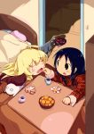 2girls :o ^_^ ahoge bed bedroom black_hair blanket blonde_hair blush bowl chito_(shoujo_shuumatsu_ryokou) closed_eyes closed_mouth commentary_request contemporary creature cup drink eyebrows_visible_through_hair food fruit happy_new_year indoors kaburaya_seiden kotatsu long_hair looking_at_another mandarin_orange mug multiple_girls new_year nuko_(shoujo_shuumatsu_ryokou) o_o open_door open_mouth orange_peel pillow plaid robot shirt shoujo_shuumatsu_ryokou smile table tray under_kotatsu under_table yuri yuuri_(shoujo_shuumatsu_ryokou)