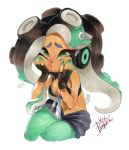1girl bare_arms bare_shoulders black_hair breasts cephalopod_eyes cleavage cowboy_shot crop_top cropped_vest dark_skin fingerless_gloves gloves green_eyes green_hair green_legwear green_skin hands_on_own_cheeks hands_on_own_face hands_up headphones iida_(splatoon) isamu-ki_(yuuki) long_hair looking_to_the_side marker_(medium) midriff mole mole_under_mouth multicolored multicolored_hair multicolored_skin navel navel_piercing octarian pantyhose pantyhose_under_shorts piercing pink_pupils shorts signature simple_background sitting solo splatoon splatoon_2 stomach suction_cups tentacle_hair traditional_media unzipped vest white_background zipper zipper_pull_tab