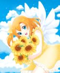 1girl angel angel_wings argentinaaph blue_eyes clouds day deviantart flower kousaka_honoka love_live! love_live!_school_idol_project open_mouth orange_hair polka_dot ribbon sky solo sunflower wings yellow_dress