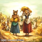 3boys 6+girls animal_ears apron blonde_hair blue_skirt blue_sky braid brown_eyes brown_footwear brown_hair building carrying_overhead carrying_under_arm chrono_regalia clouds day faceless faceless_female faceless_male hat haystack kageco long_skirt looking_at_another mouse_ears mouse_tail multiple_boys multiple_girls official_art outdoors pitchfork puffy_short_sleeves puffy_sleeves red_skirt short_sleeves skirt skirt_hold sky standing tail twin_braids white_hat