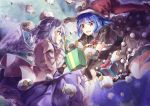 2girls blue_eyes blue_hair box commentary_request doremy_sweet gift gift_box hat highres jacket kishin_sagume long_sleeves multiple_girls open_mouth pom_pom_(clothes) santa_hat sheep shometsu-kei_no_teruru short_sleeves sidelocks single_wing touhou violet_eyes white_hair white_wing wings