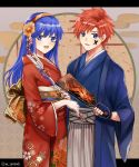 1boy 1girl blue_eyes blue_hair fire_emblem fire_emblem:_fuuin_no_tsurugi japanese_clothes kimono lilina long_hair looking_at_viewer redhead roy_(fire_emblem) smile spiky_hair wspread
