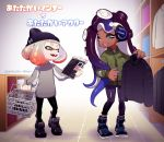 2girls beanie cephalopod_eyes dark_skin domino_mask hat headphones highres hime_(splatoon) iida_(splatoon) mask mole multicolored multicolored_hair multicolored_skin multiple_girls octarian pants pink_pupils puchiman shopping shopping_basket smile splatoon splatoon_2 suction_cups tentacle_hair white_hair yellow_eyes zipper