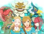 aqua_eyes artist_request blonde_hair blush closed_eyes dark_skin daruk earrings flower gerudo goron green_eyes hair_flower hair_ornament jewelry link lipstick long_hair makeup mipha pointy_ears princess_zelda redhead revali rito the_legend_of_zelda the_legend_of_zelda:_breath_of_the_wild urbosa zora
