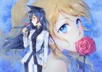2girls ayase_eli bangs blonde_hair blue_eyes blue_flower blue_rose commentary_request flower from_side hat holding holding_flower long_hair looking_at_viewer looking_to_the_side love_live! love_live!_school_idol_project military military_uniform mimori_(cotton_heart) mouth_hold multiple_girls ponytail red_flower red_rose rose scrunchie sonoda_umi uniform