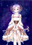 1girl bare_shoulders breasts brown_eyes cleavage collarbone cross-laced_clothes dress fur_trim holding holding_staff horns looking_at_viewer medium_breasts night night_sky original pointy_ears pom_pom_(clothes) purple_hair sheep_horns shooting_star sky staff white_dress yuu_li_(glass)