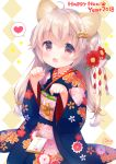 1girl 2018 :3 :d ahoge animal_ears artist_name bangs beads blue_kimono blush bone_hair_ornament brown_eyes commentary_request dog_ears eyebrows_visible_through_hair floral_print flower hair_beads hair_between_eyes hair_flower hair_ornament happy_new_year heart japanese_clothes kimono light_brown_hair long_hair looking_at_viewer low-tied_long_hair new_year obi open_mouth original paw_pose print_kimono red_flower sash signature smile solo sparkle spoken_heart translated usashiro_mani very_long_hair